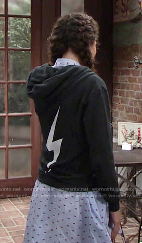 Mattie's hoodie with bolt on the back on The Young and the Restless