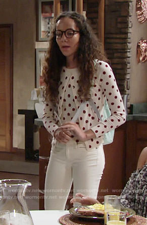 Mattie's red polka dot cardigan and top on The Young and the Restless