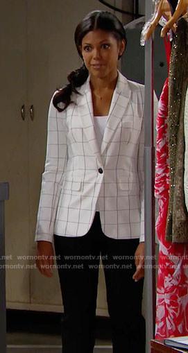 Maya' white windowpane checked blazer on The Bold and the Beautiful