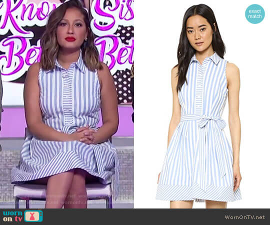 Sleeveless Striped Tie-Waist Shirtdress by Milly worn by Adrienne Houghton  on The Real