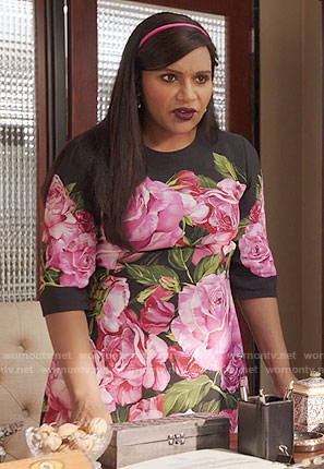 Mindy's black and pink rose print dress on The Mindy Project