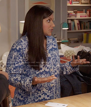 Mindy's blue floral and mermaid print pajamas on The Mindy Project
