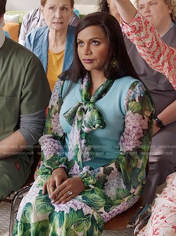 Mindy's floral tie neck blouse and skirt on The Mindy Project