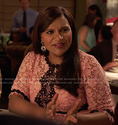 Mindy's pink and black lace dress on The Mindy Project