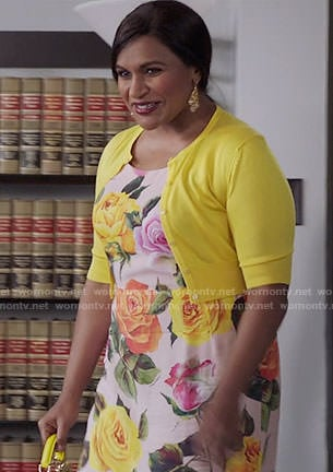 Mindy's rose print dress and yellow bag on The Mindy Project