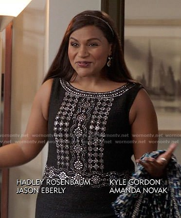 Mindy's black embellished dress on The Mindy Project
