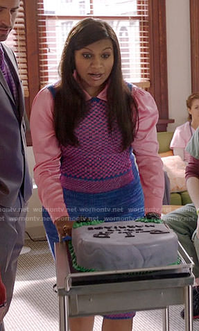 Mindy's blue and pink checked sweater vest on The Mindy Project