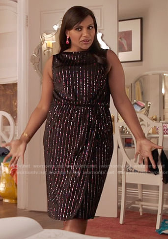 Mindy's black metallic striped dress on The Mindy Project