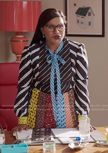 Mindy's mixed pattern tie-neck dress on The Mindy Project