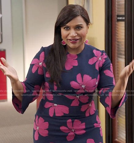 Mindy's navy and pink floral dress on The Mindy Project