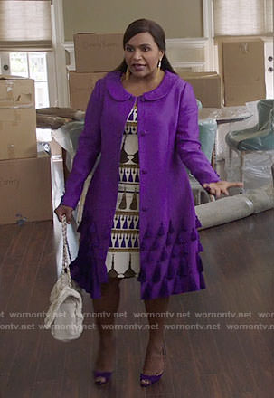 Mindy's tassel print dress and purple coat on The Mindy Project