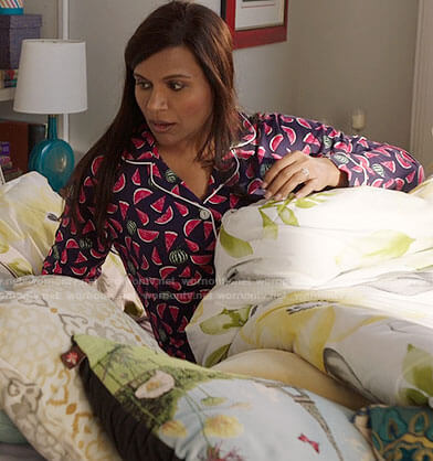 Mindy's watermelon print pajamas on The Mindy Project