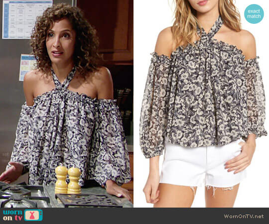 MISA Los Angeles Lively Floral Off Shoulder Top worn by Christel Khalil on The Young & the Restless
