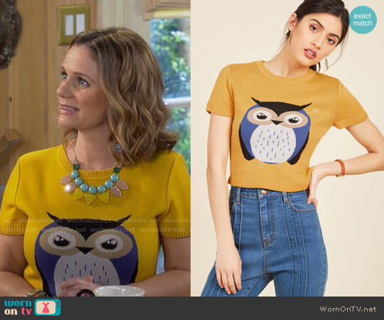 ModCloth Says Hoot Sweater worn by Andrea Barber on Fuller House