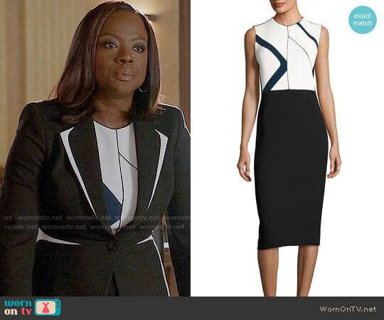 Narciso Rodriguez Graphic-Print Sleeveless Sheath Dress worn by Viola Davis on HTGAWM