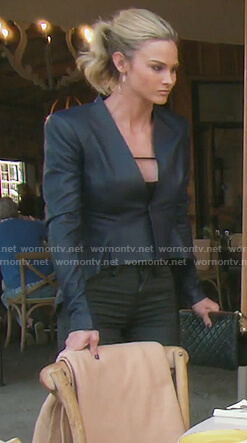 Meghan's dark blue leather jacket on The Real Housewives of OC