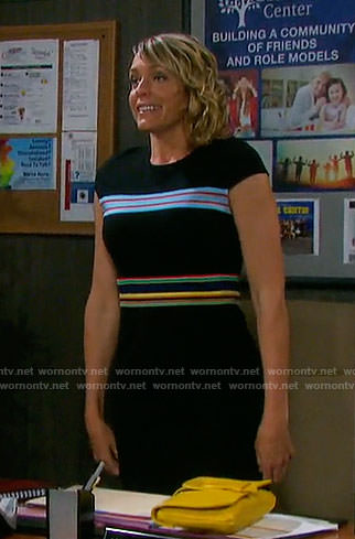 Nicole's black dress with multi colored stripes on Days of our Lives