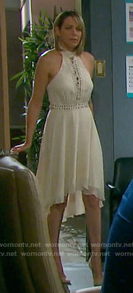 Nicole's cream lace-up dress on Days of our Lives