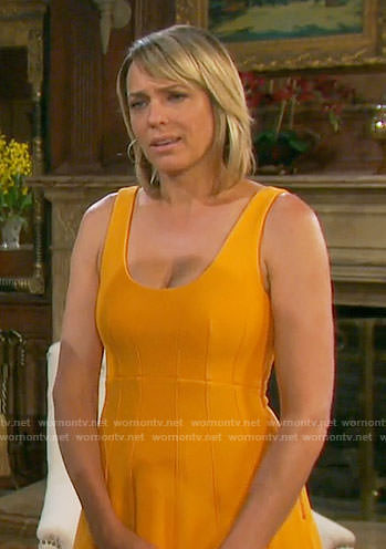 Nicole's orange midi dress on Days of our Lives