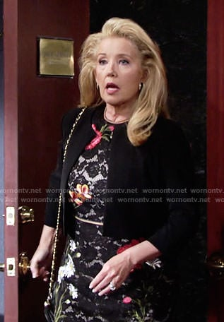 Nikki's black floral lace dress on The Young and the Restless
