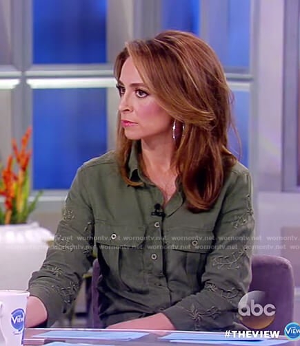 Jedediah's olive embroidered jumpsuit on The View