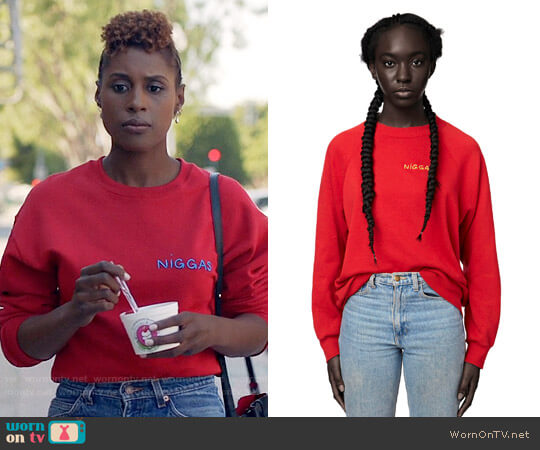 Omondi Niggas Sweatshirt worn by Issa Rae on Insecure