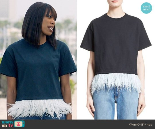 Opening Ceremony Feather Trim Crop Tee worn by Yvonne Orji on Insecure