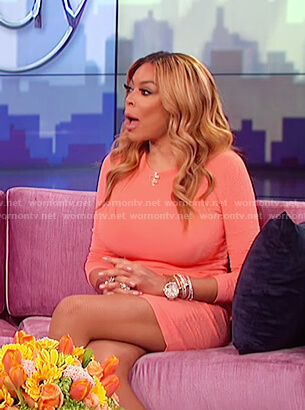 Wendy's orange knit dress on The Wendy Williams Show