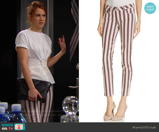 Paige Verdugo Skinny Ankle Jeans in Emerson Stripe worn by Sally Spectra (Courtney Hope) on The Bold & the Beautiful