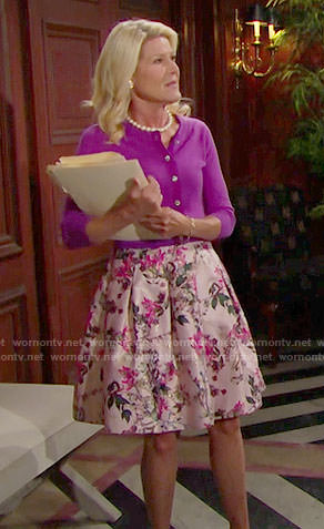 Pam's pink floral skirt and purple cardigan on The Bold and the Beautiful