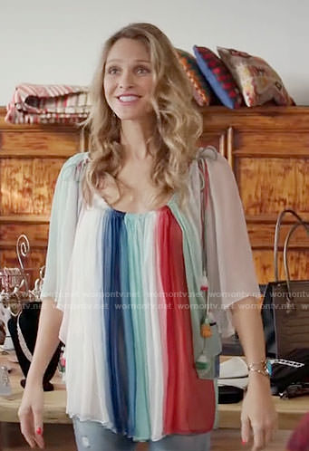 Phoebe's multi colored stripe top on Girlfriends Guide to Divorce