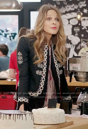 Phoebe's black embroidered fringe trim jacket on Girlfriends Guide to Divorce