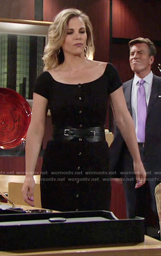 Phyllis's black button front midi dress on The Young and the Restless