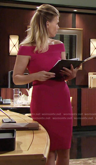Phyllis's pink off-shoulder dress on The Young and the Restless