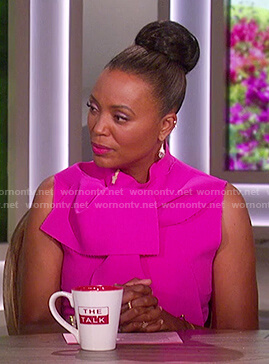Aisha's pink tie neck mini dress on The Talk