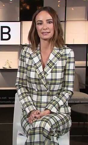 Catt's plaid jumpsuit and jacket on E! News Daily Pop
