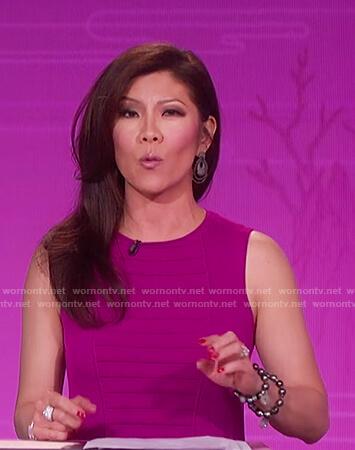 Julie's purple ribbed sheath dress on The Talk
