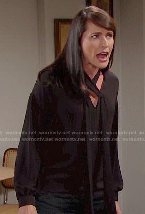Quinn's black cross neck blouse on The Bold and the Beautiful