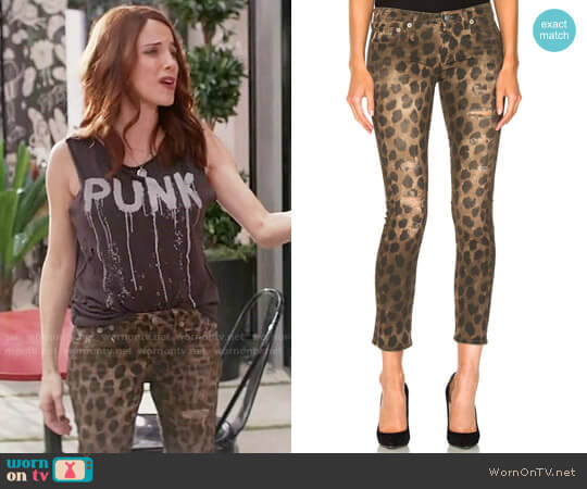 R13 Kate Leopard Jeans worn by Alanna Ubach on GG2D