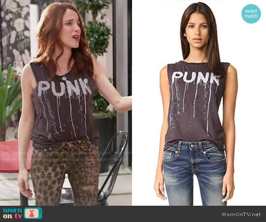 R13 Punk Raw Edge Tank worn by Alanna Ubach on GG2D