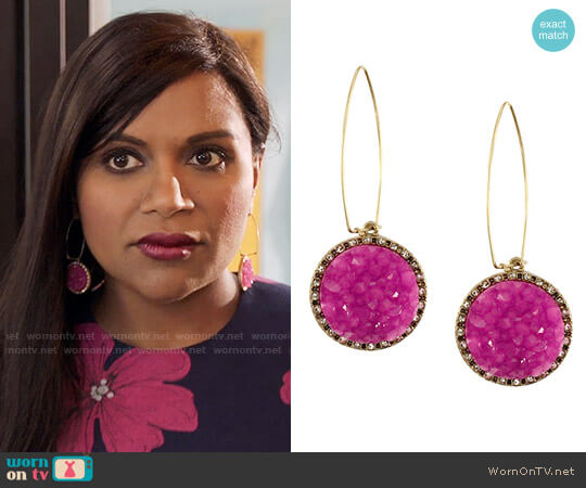 Rachel Roy Pink Druzy Earrings worn by Mindy Lahiri (Mindy Kaling) on The Mindy Project