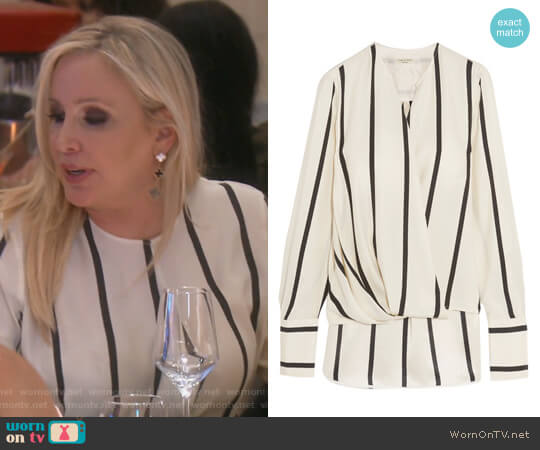 Max wrap-effect striped silk blouse by Rag and Bone worn by Shannon Beador on The Real Housewives of Orange County