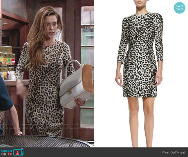 Rag & Bone 3/4 Sleeve Fitted Leopard Dress worn by Victoria Newman (Amelia Heinle) on The Young & the Restless