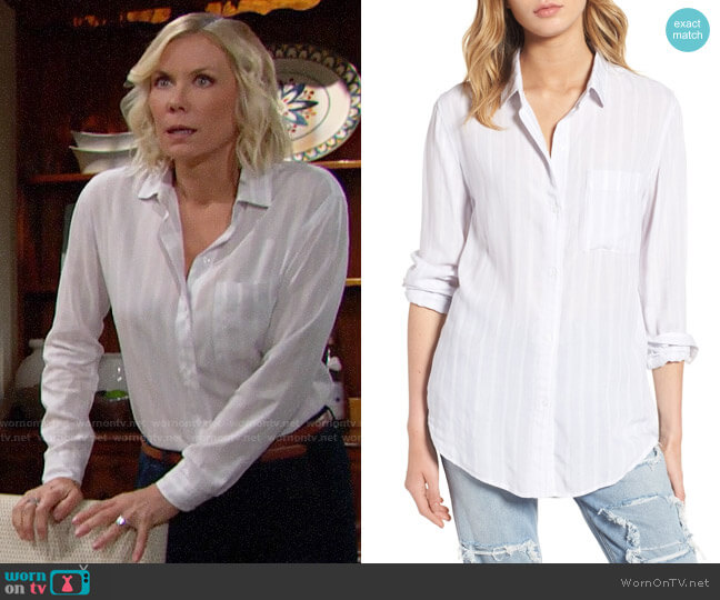 Rails Aly Shirt in Dove Lurex Stripe worn by Katherine Kelly Lang on The Bold & the Beautiful