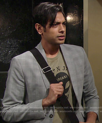 Ravi's Area 51 tee and plaid blazer on The Young and the Restless