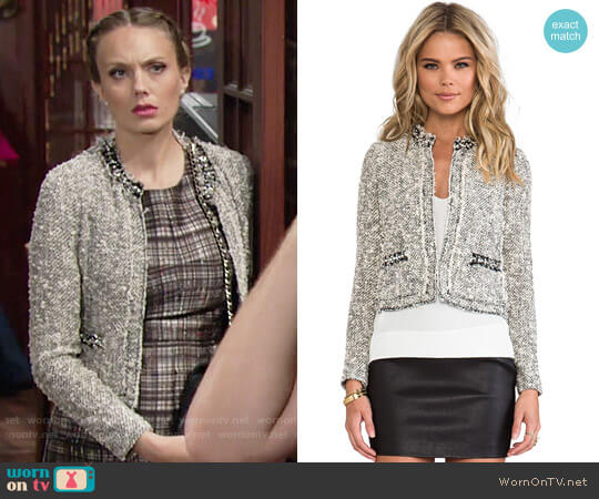 Rebecca Taylor Embellished Tweed Jacket worn by Melissa Ordway on The Young & the Restless