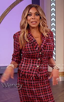 Wendy's red check jacket and skirt on The Wendy Williams Show