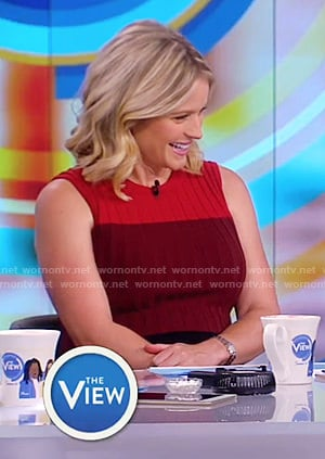 Sara's red and black ribbed sleevelesss dress on The View