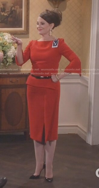 Karen's red split hem dress on Will and Grace