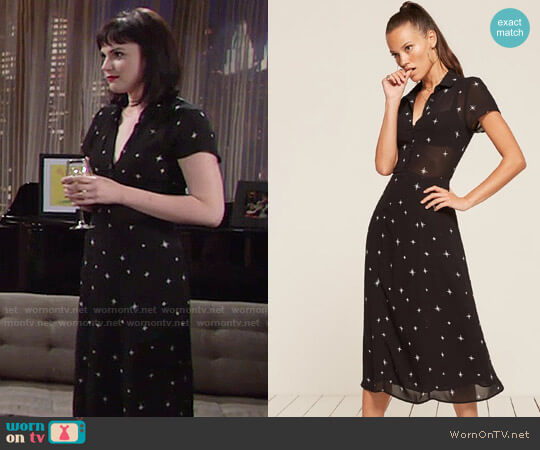 Reformation Maddie Consellation Dress worn by Tessa Porter (Cait Fairbanks) on The Young & the Restless